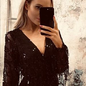 Soft Lining Casual Jumpsuit Romper with Sequins